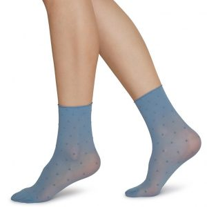 JUDITH dot socks DUSTY BLUE-IVORY 2-pack /one size
