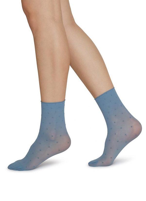 JUDITH dot socks DUSTY BLUE-IVORY 2-pack /one size